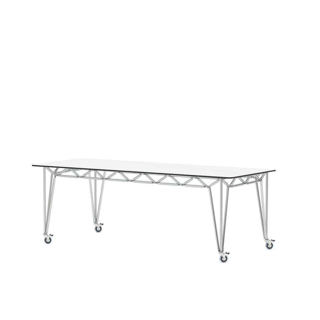 Tisch edelstahlgestell bridge m 205x97 wei glas for Design thinking tisch