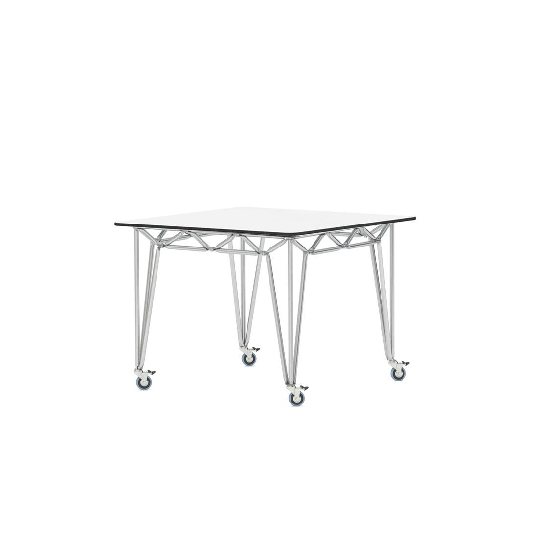 Tisch edelstahlgestell bridge s 97x97 wei glas for Design thinking tisch