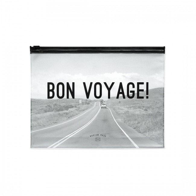 bon voyage zip beutel clear travel pouch dear maison i design deli. Black Bedroom Furniture Sets. Home Design Ideas